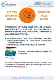 Invito Uiltrasporti ai Rider di Milano